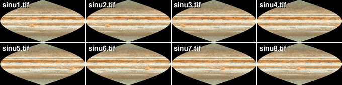 Eight Sinusoidal Projections of Jupiter